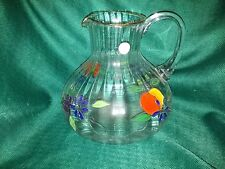 CRYSTAL CLEAR Venetian Fruit Flower Handpainted Pitcher 22K Gold accent ROMANIA