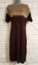 BNWT Size 14 WOOL Dress AMARANTO Brown Striped Fitted Stretch Casual Funnel Neck