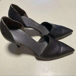 Vince Claire Embossed Pump Leather 42 Heels 10.5 Pointed Toe Croc Pattern