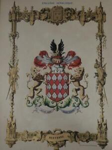 Important HERALDIQUE Marquis de MAGNY NOBLESSE FRANCE 8 chromos 1844 GENEALOGIE