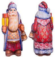 "Hand carved Santa statue 6"", wood Santa figurine, 1950s christmas decorations"