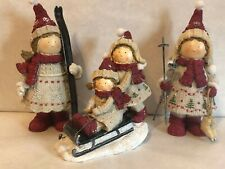 Three Decorative Table Top Holiday Figurines – Skiing, Skating, Sledding