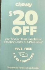 CHEWY.com $20 OFF Your First $49 Order +Fre 1-2 day Shipping-Ex 06/30/2021