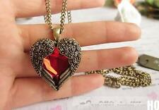 HO CA Vintage Women Red Rhinestone Peach Heart Wing Pendant Necklace Chain