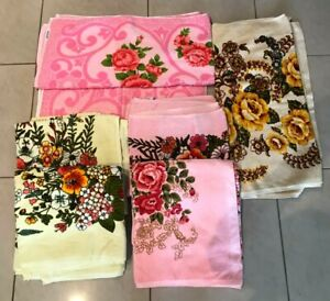 VINTAGE RETRO 1960's-70's 7 FLORAL BATH TOWELS UNUSED WITH TAGS