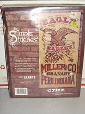 1982 Tina of California Embroidery EAGLE BARLEY Miller co. on Burlap Kit 17 x 34