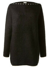 Saint Laurent YSL Studded Mohair Boatneck Pullover Sweater in Black Size XL