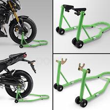 Motorrad Montageständer SET hinten & vorn Motorradständer Transportständer Grün
