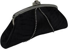 Abendtasche Vintage satin Hochzeit schwarz Clutch black Strass Kristall