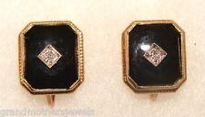 Elegant Vintage ESEMCO 10K Yellow Gold, Onyx & Diamond Earrings