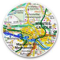 2 x Vinyl Stickers 25cm - Mante-la-Jolie France French Travel Map  #45673