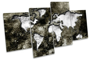 Map of the World Distressed Picture MULTI CANVAS WALL ART Print Grey