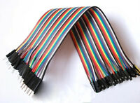 40Pcs 20cm Color Dupont Wire Jumper Ribbon Cable 2.54mm 1P-1P Male to Female UK