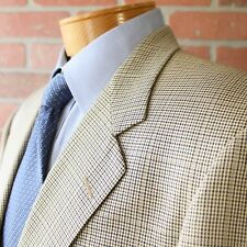 Aquascutum Light Brown Blue Gray Houndstooth Sportcoat 100% Wool Made in USA 41R