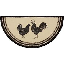 New Primitive Farmhouse Chicken ROOSTER BRAIDED FLOOR MAT Slice Jute Half Rug