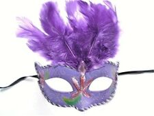 MASQUERADE BURLESQUE HEN PARTY PURPLE FEATHER GLITTER PARTY EYE MASK NEW