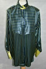Vintage Hammer Navy & Lime Striped Satin Feel Oversized Shirt Size 38 UK 10