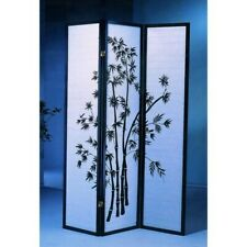 "Black / White 72"" Tall Oriental Shoji 3 Panel Room Divider for Home Decoration"