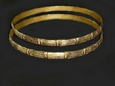 SALE !  One SET 2 Bamboo gold Bangles  Real 1/20 -14k gold filled rigid bangles