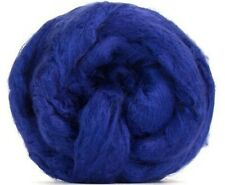 4 Ounces Bamboo Combed Top/Roving  - Bright Blue - SHIPS FREE