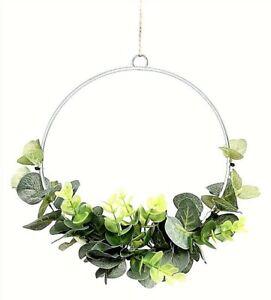 Eucalyptus Wreath Green Leaf Half Semi Hoop Hanging Decoration 20cm diameter
