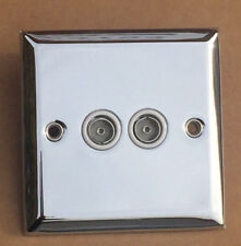 Chrome Twin TV or FM Slimline Aerial Co-Axial Double Outlet Socket (29)