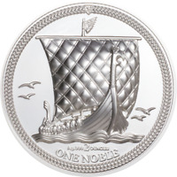 2020 Isle of Man 1 Noble 2oz .999 Silver Piedfort Ultra High Relief Proof Coin
