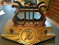 B Vintage Art Deco Monogrammed 'B' Desk Stand With Letter Holder& Pen Holders