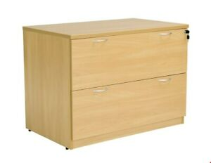 NEW BOXED & ASSEMBLED - 2 DRAWER WIDE FILING CABINET WITH LOCK - OAK - RRP £240
