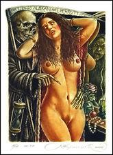 Kirnitskiy Sergey 2018 Exlibris C4 Girl and Death Erotic Skeleton Hourglass 254