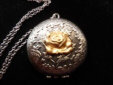 ANTIQUE SILVER VICTORIAN ROSE LOCKET  LARGE LOCKET
