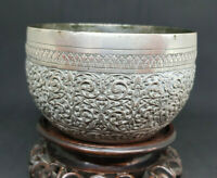 ANTIQUE SOLID SILVER BURMESE BOWL 170 G.