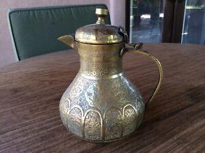 Middle Eastern Isfahan brass tea / coffee pot, Safavid empire period