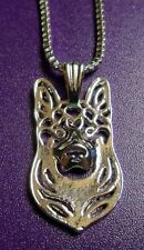 German Shepard Dog Necklace Pendant ~ Silver Tone