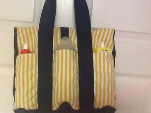 Diaper Bag Tote Baby Yellow Blue Canvas Bottle Pockets On Front Stripes H1