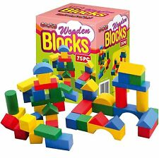 KIDS CHILDRENS WOODEN TOYS 75 PIECES ASSORTED SHAPES SIZE WOODEN BUILDING BLOCKS