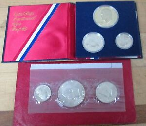 1976 Bicentennial Silver Proof and Uncirculated Set Both 3 Coin U.S. Mint COA