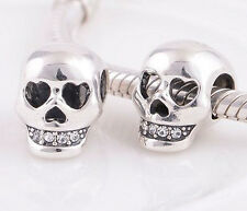 LOVE YOU TO DEATH SKULL .925 Sterling Silver European Charm Bead