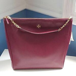 New Tory Burch Carter Slouchy Hobo Imperial Garnet handbag shoulder bag