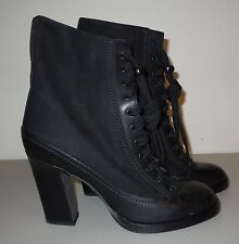 "RAG & BONE ""Hove"" Black Leather Lace Up Heel Boots Size 37 US 7 NIB $595"