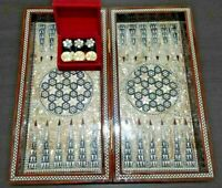 """Backgammon Chess Egyptian Handmade Wooden Mother of Pearl 16""""&Backgammon Pieces#"""