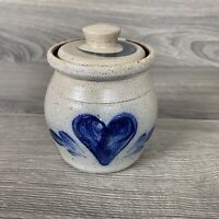 1990 Rowe Pottery Works Cobalt Blue Heart Mini Crock Canister With Lid