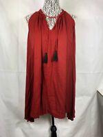 Mango Casual women's Dress Size 4 S Boho Peasant Tassel Red Hippie Sleeveless 45