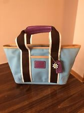 Coach Small Tote NWOT sateen nylon blue, purple and brown Hamptoms Collection
