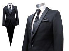 Elegante Schalkragen Herren Anzug 5 teilig Gr.48 Schwarz