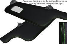GREEN STITCH FITS SEAT IBIZA MK2 CORDOBA 93-99 2X SUN VISORS LEATHER COVERS ONLY