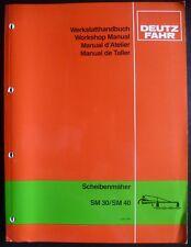 Deutz scheibenmäher sm30 + sm40 taller de libro de mano