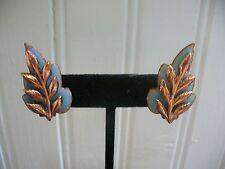 Vintage Matisse Blue Enameled Solid Copper Leaf Overlay Clip-On Earrings