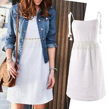 romantisches Sommerkleid Ethno Kleid Bauern-Look Gr.42 XL weiß Boho Baumwolle