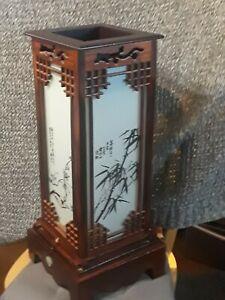 Japanese Shoji Table/Floor Lamp Glass Wood Window Pane Lantern Vintage